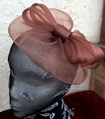brown tan fascinator millinery burlesque wedding hat ascot race bridal party