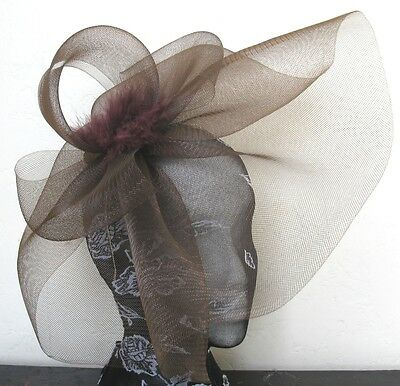 brown feather fascinator millinery burlesque headband wedding hat hair piece 1