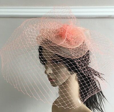 coral peach french veil veiling fascinator wedding bridal hair clip hat race