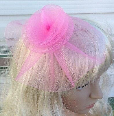 baby pink fascinator millinery feather brooch clip wedding hat bridal ascot