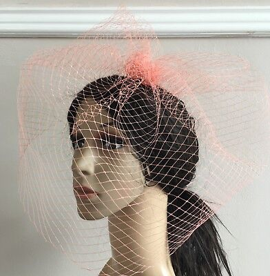 coral peach french veil veiling fascinator wedding bridal hair hat clip race