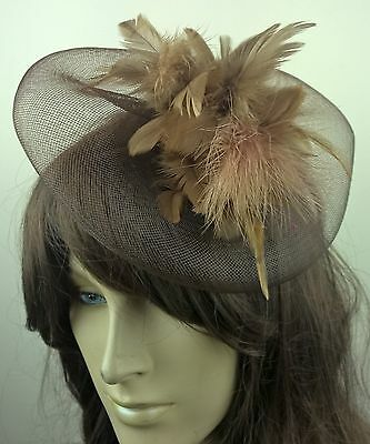brown feather fascinator millinery burlesque wedding hat bridal race ascot 1
