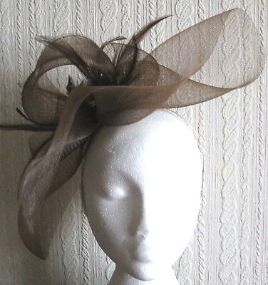 brown feather headband fascinator millinery widow hat 1