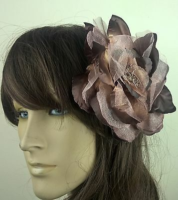 brown satin flower fascinator millinery burlesque wedding hat bridal race