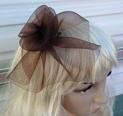 brown fascinator millinery feather brooch clip wedding hat bridal ascot race