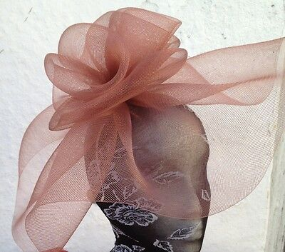 brown fascinator millinery burlesque wedding hat hair piece ascot race bridal 1