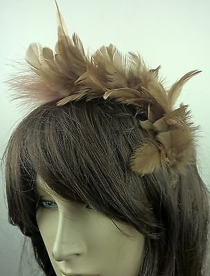 brown feather headband fascinator hair band wedding bridal race party ascot