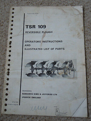 @Vintage Ransomes TSR 109 Reversible Plough Operators Instructions & Parts@