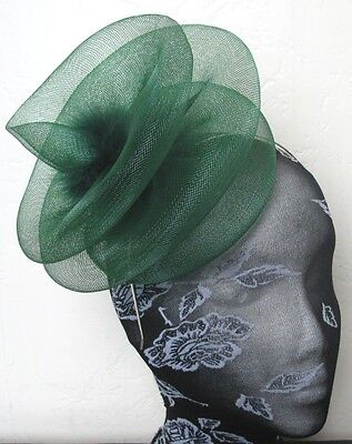 green feather fascinator millinery burlesque headband wedding hat hair piece