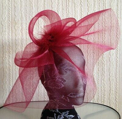 dark red maroon burgundy feather headband fascinator millinery hat wedding ascot