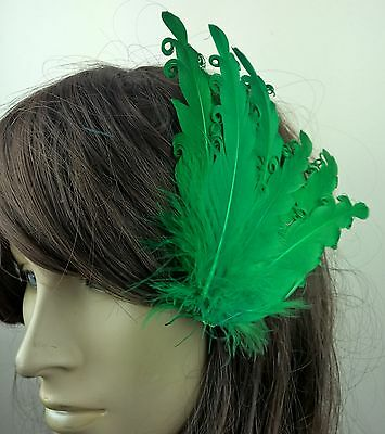 green feather fascinator millinery hair clip wedding piece ascot race dance