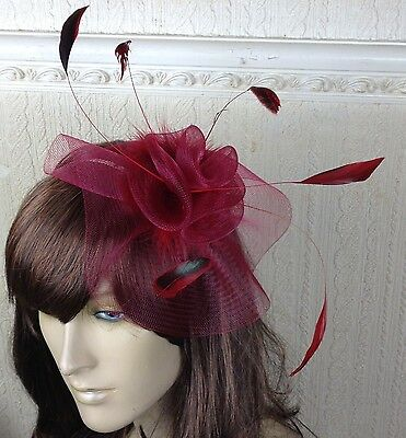 dark deep red feather hair headband fascinator millinery wedding hat ascot race