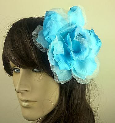light blue satin flower fascinator millinery burlesque wedding hat bridal race