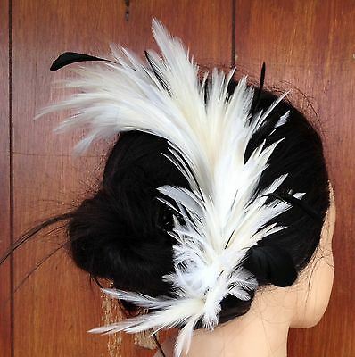Ivory feather comb fascinator millinery wedding bridal race ascot hair piece hat