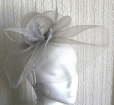 grey feather headband fascinator millinery wedding hat