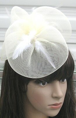 ivery white fascinator millinery feather brooch clip wedding hair piece ascot 1