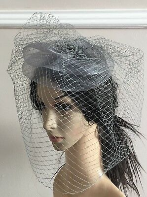 grey french veil veiling fascinator wedding bridal hair clip hat race ascot