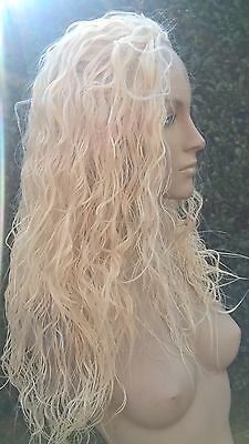 light blonde wavy curly frizzy puffy 3/4 half head long hair wig fancy dress new
