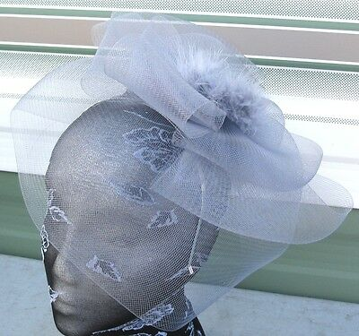 grey feather fascinator millinery burlesque headband wedding hat race ascot 1