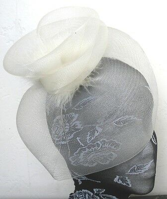 ivory feather fascinator millinery burlesque headband wedding hat hair piece x