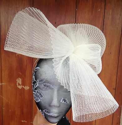 Ivory fascinator millinery burlesque wedding hat hair piece ascot race bridal 1