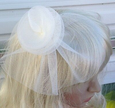 ivory fascinator millinery feather brooch clip wedding hat bridal ascot race