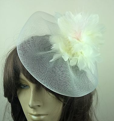 ivory feather fascinator millinery burlesque wedding hat bridal race ascot