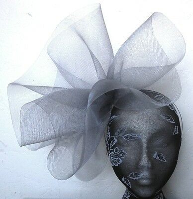 grey feather fascinator millinery burlesque headband wedding hat hair piece x