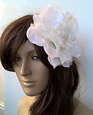 ivory satin flower fascinator millinery burlesque wedding hat bridal race