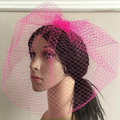 hot pink french veil veiling fascinator wedding bridal hair hat comb clip race