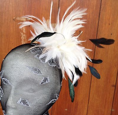 Ivory fascinator millinery feather brooch clip wedding ascot hat hair piece