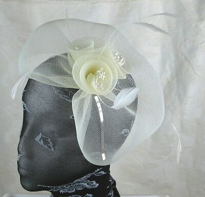 ivory cream feather headband fascinator millinery wedding ascot hat hair piece