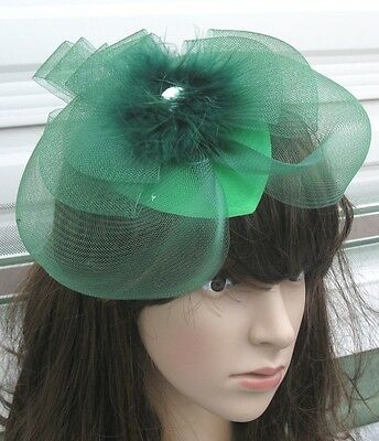 green feather netting hair clips fascinator millinery wedding hat race ascot
