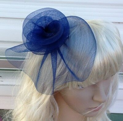 navy blue fascinator millinery feather brooch clip wedding hat bridal ascot race