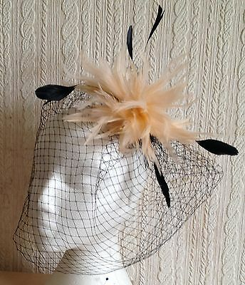 nude feather black veiling fascinator millinery hair clip ascot wedding bridal