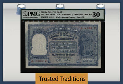 TT PK 42b ND (1949-57) INDIA - RESERVE BANK 100 RUPEES PMG 30 NO GEMS RECORDED!