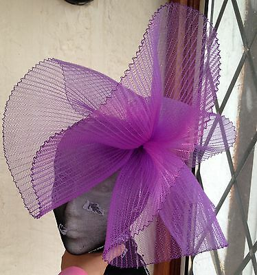 Purple fascinator millinery burlesque wedding hat hair piece ascot race bridal