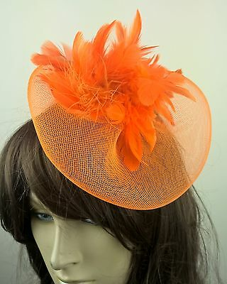 orange feather fascinator millinery burlesque wedding hat bridal race ascot