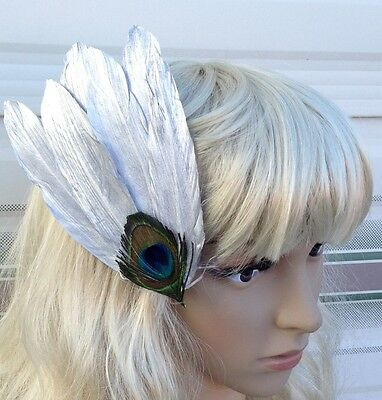 silver fascinator millinery peacock feather hair clip wedding piece ascot