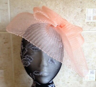 Peach coral nude fascinator millinery burlesque wedding hat ascot race bridal x
