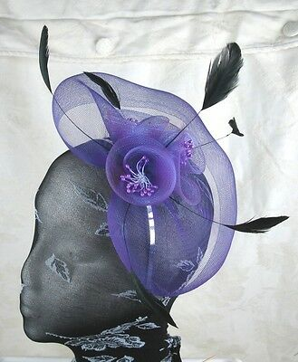 purple feather headband fascinator millinery wedding ascot hat hair piece