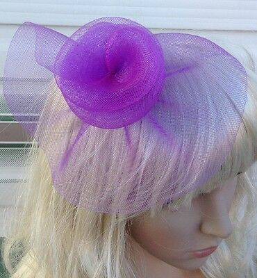 purple fascinator millinery feather brooch clip wedding hat bridal ascot race