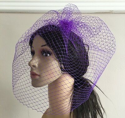 purple french veil veiling fascinator wedding bridal hair hat comb clip race