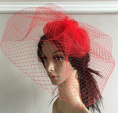 red french veil veiling fascinator wedding bridal hair clip hat race ascot
