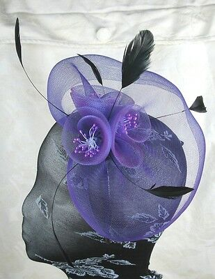 purple feather headband fascinator millinery wedding ascot hat hair piece x