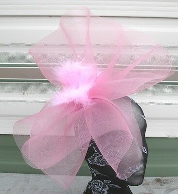 pale pink feather fascinator millinery burlesque headband wedding hat hair piece