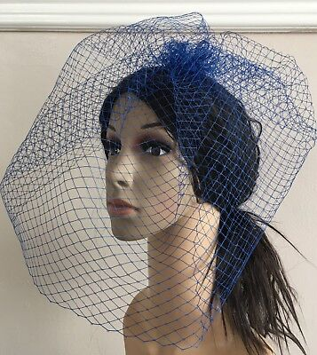 royal blue french veil veiling fascinator wedding bridal hair hat comb clip race