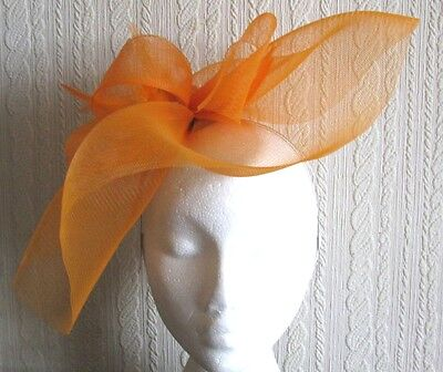 orange feather headband fascinator millinery wedding hat ascot race party bridal