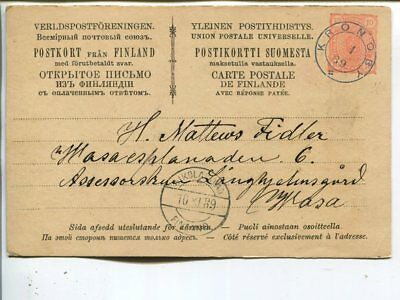 Finland 10p first half of double postal card, Kronoby 1889