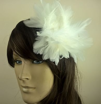 white feather flower fascinator millinery hair clip wedding piece ascot race